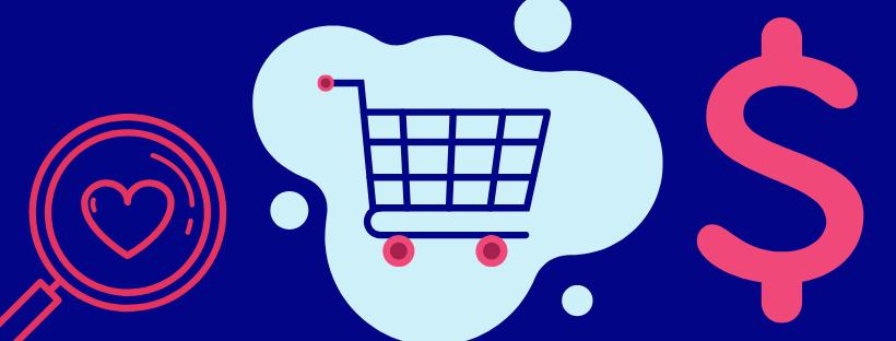 Illustration avec un panier d'achat, une loupe et le symbole de l'argent