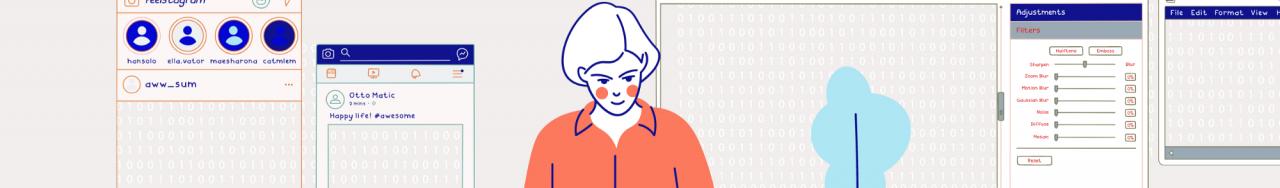 Dessin d'une femme devant un ordinateur avec différentes interfaces sur les côtés qui semble avoir besoin de décrocher du numérique
