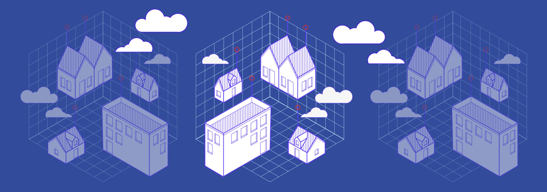 Dessin avec des immeubles intelligents et des technologies immobilières