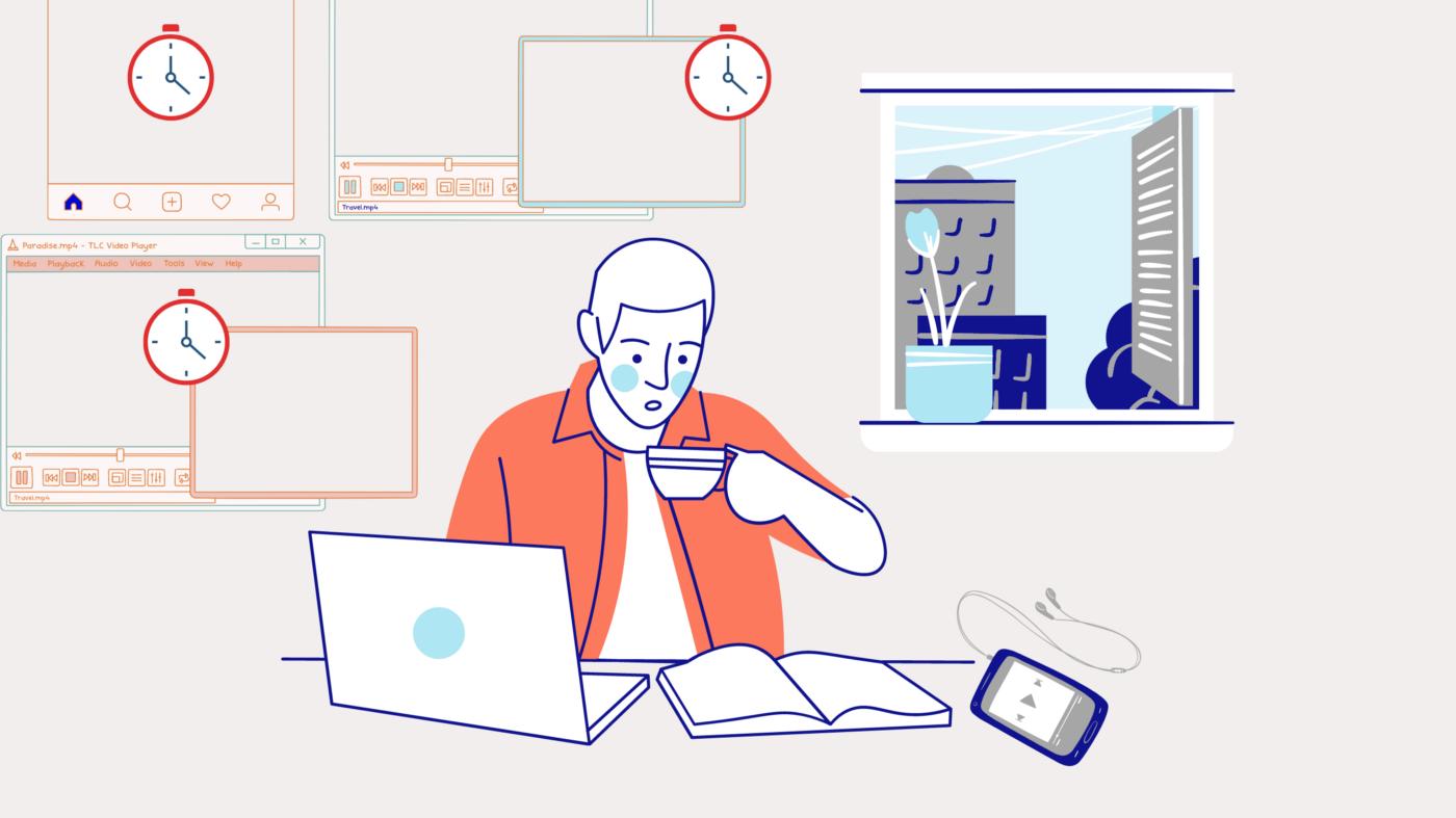 Dessin d'un homme buvant un café devant un ordinateur qui doit décrocher du numérique