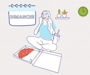 Dessin d'une femme mangeant une pizza qui illustre le septème jour du défi pour décrocher du numérique