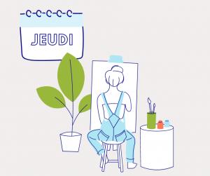 Dessin d'une femme en train de peindre qui illustre le quatrième jour du défi pour décrocher du numérique