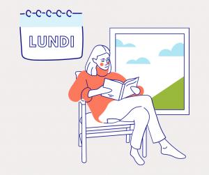 Dessin avec une femme lisant un livre qui illustre le premier jour du défi pour décrocher du numérique