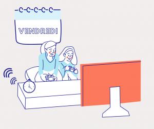 Dessin représentant deux femmes qui jouent à un jeu sur une télévision qui illustre le cinquième jour du défi pour décrocher du numérique