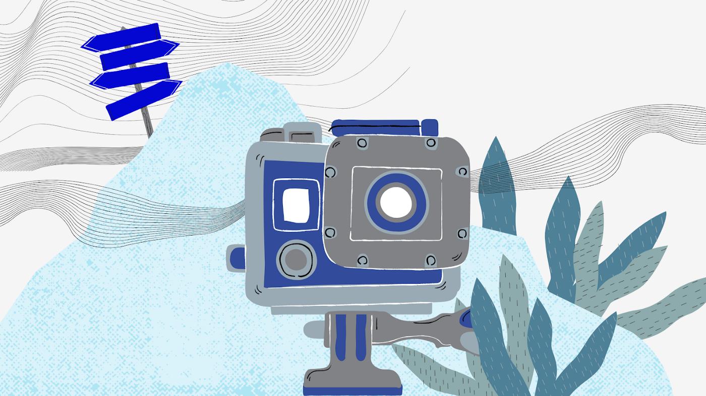 Dessin d'une caméra posée dans la nature