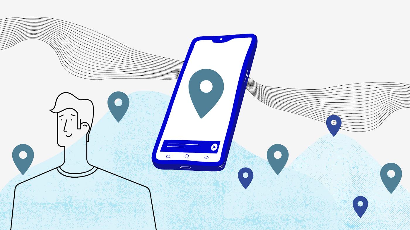 Dessin d'un téléphone avec des points GPS