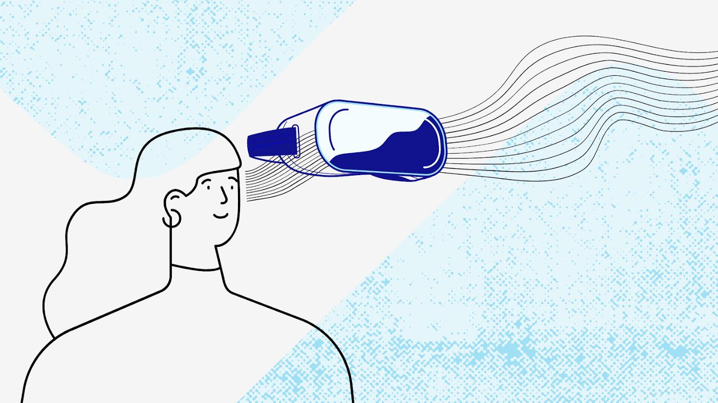 Dessin d'une femme avec un casque de réalité virtuelle
