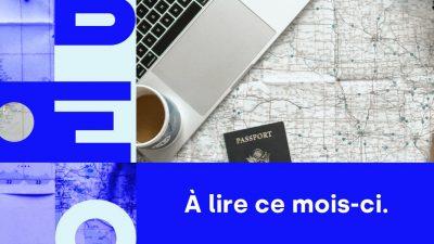 Bannière avec le nom de Libéo et l'image d'une carte de voyage et un passeport pour présenter juillet 2020