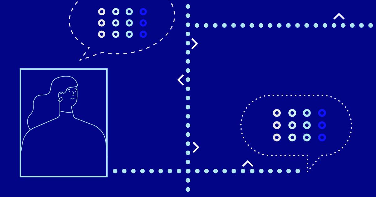 Parcours client abstrait avec des bulles d'évaluation