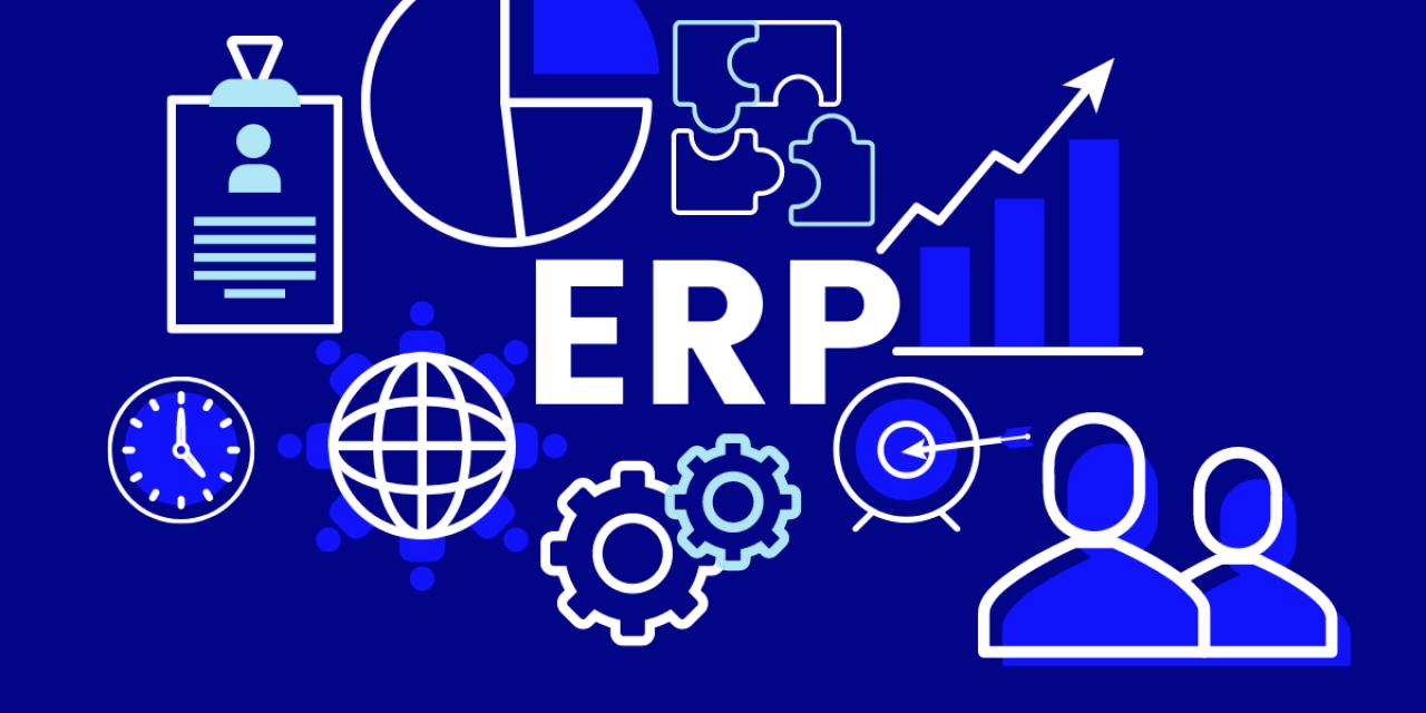 Bannière avec le mot ERP et des symboles d'affaires