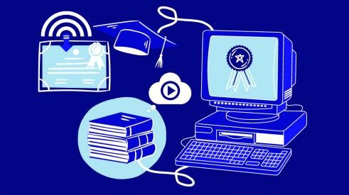Image d'un ordinateur connecté avec des livres audio et un diplôme à télécharger en ligne