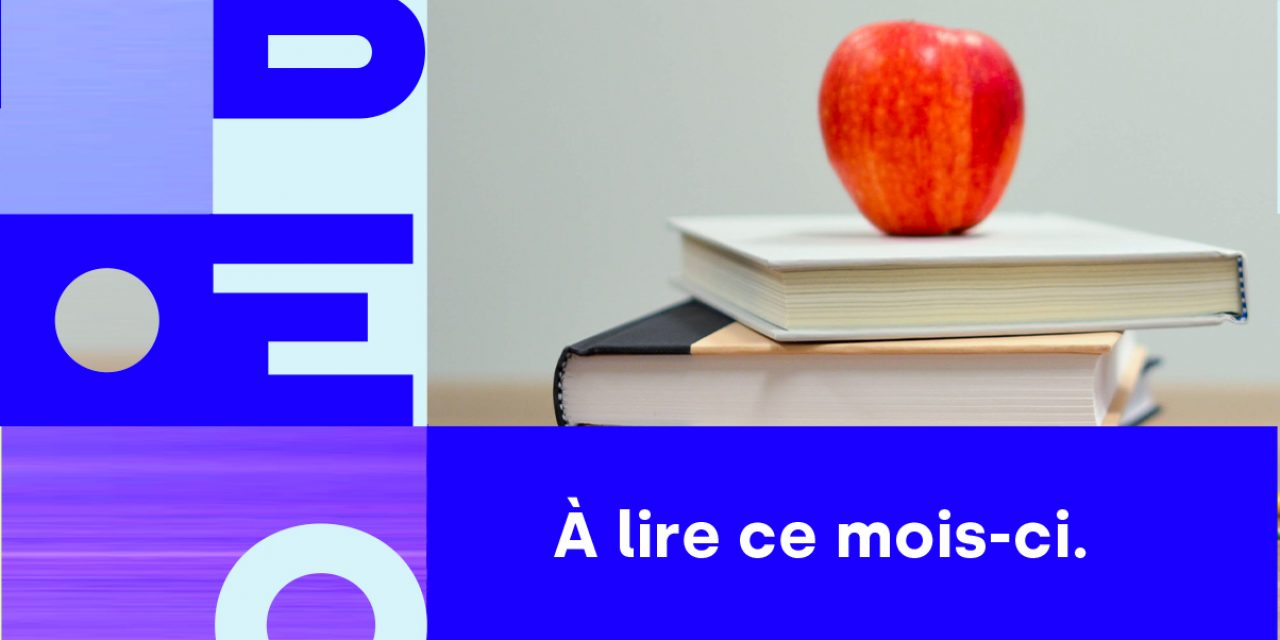 Bannière avec le nom de Libéo et l'image de livres et d'une pomme pour illustrer l'infolettre de septembre 2020