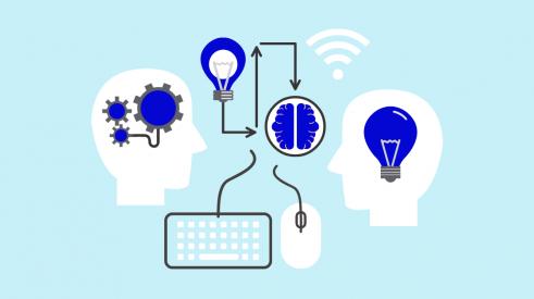Bannière représentant deux icônes de tête réfléchissant à des idées innovantes