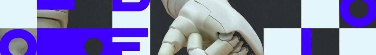 Libéo logo in front of robot hands