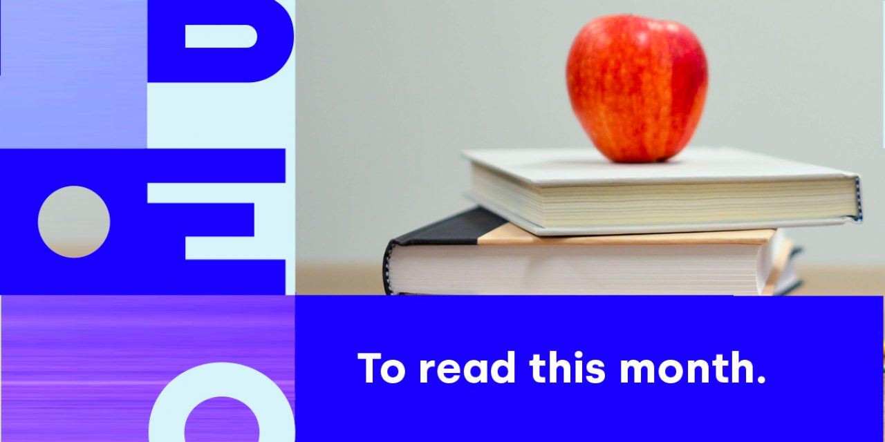 Banner with the name Libéo and the image of books and an apple to illustrate the September 2020 newsletter