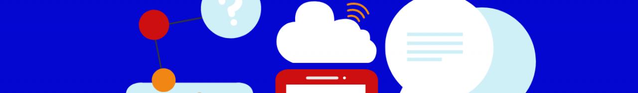 Bannière avec des icônes de cellulaire, de nuage et de questions pour résumer la transformation numérique