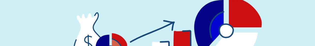 Bannière avec des illustrations de calculatrices et différents graphiques représentant des gains de retour sur investissement